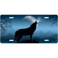 Howling Wolf on Blue License Plate
