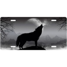 Howling Wolf on Gray License Plate