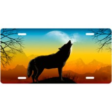 Howling Wolf on Full Color License Plate