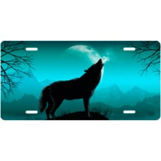 Howling Wolf on Teal License Plate