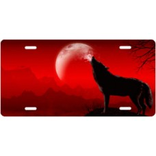 Howling Wolf on Red Offset License Plate