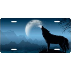 Howling Wolf on Blue Offset License Plate