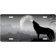 Howling Wolf on Gray Offset License Plate
