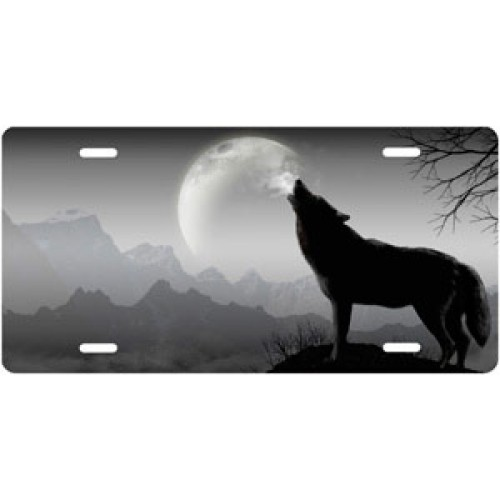 Howling Gray Wolf License Plate