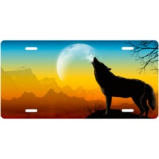 Howling Wolf on Full Color Offset License Plate