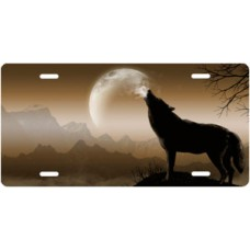 Howling Wolf on Mocha Offset License Plate