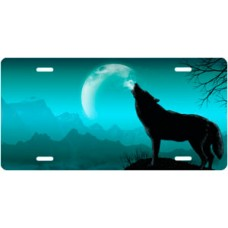 Howling Wolf on Teal Offset License Plate