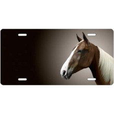 Sorrel Tennessee Walker Horse on Black Offset License Plate