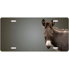 Donkey on Gray Offset License Plate