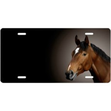 Bay Thoroughbred Horse on Black Offset License Plate