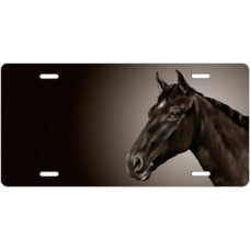 Black Horse on Black Offset License Plate