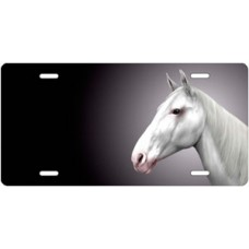 White Horse on Black Offset License Plate