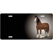 Clydesdale on Black Offset License Plate