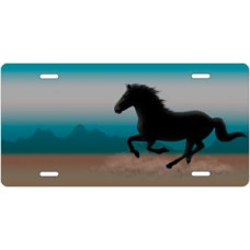 Mustang on Blue and Gray Offset License Plate
