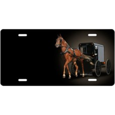 Horse and Buggy on Black Offset License Plate