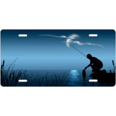 Fishing on Blue Offset License Plate