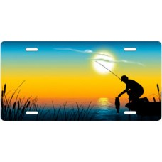 Fishing on Full Color Offset License Plate