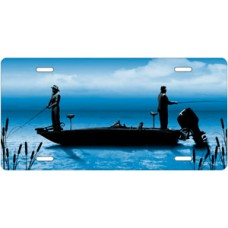 Boat Fishing on Blue License Plate