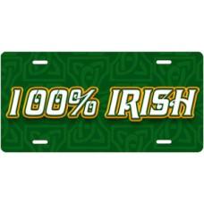 100% Irish License Plate