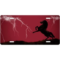 Lightning Horse on Burgundy Offset License Plate