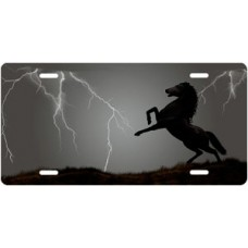 Lightning Horse on Gray Offset License Plate