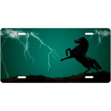 Lightning Horse on Green Offset License Plate