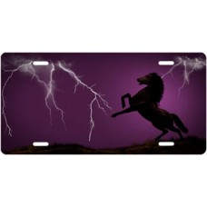 Lightning Horse on Purple Offset License Plate