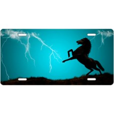 Lightning Horse on Teal Offset License Plate