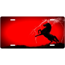 Lightning Horse on Red Ringer Offset License Plate