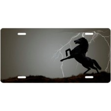 Lightning Horse on Gray Ringer Offset License Plate