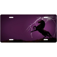 Lightning Horse on Purple Ringer Offset License Plate