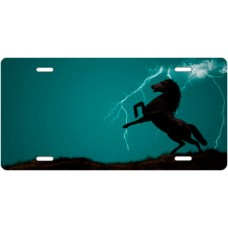 Lightning Horse on Teal Ringer Offset License Plate