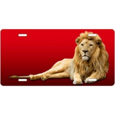 Lion on Red License Plate