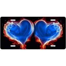 Red and Blue Fire Hearts on Black License Plate