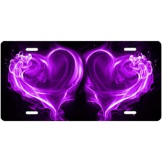 Purple Fire Hearts on Black License Plate