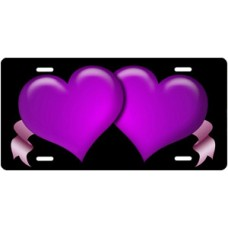 Purple Hearts and Pink Ribbons on Black License Plate