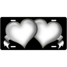 White Hearts and Ribbons on Black License Plate