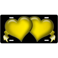 Yellow Hearts and Ribbons on Black License Plate
