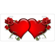 Red Hearts and Roses on White License Plate