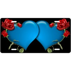 Blue Hearts and Red Roses on Black License Plate