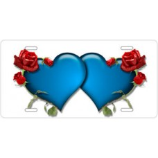 Blue Hearts and Red Roses on White License Plate
