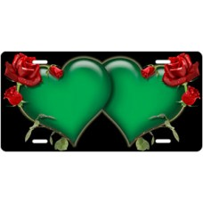 Green Hearts and Red Roses on Black License Plate