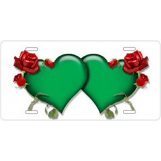 Green Hearts and Red Roses on White License Plate