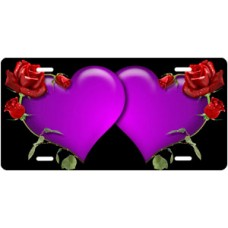 Purple Hearts and Red Roses on Black License Plate