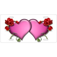 Pink Hearts and Red Roses on White License Plate