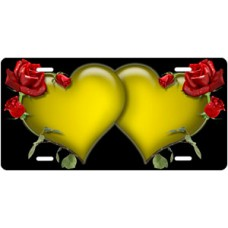 Yellow Hearts and Red Roses on Black License Plate