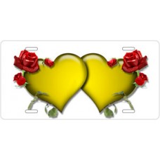 Yellow Hearts and Red Roses on White License Plate