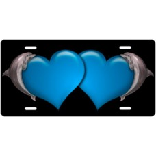 Dolphins and Blue Hearts on Black License Plate