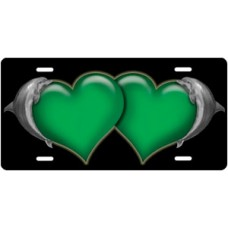 Dolphins and Green Hearts on Black License Plate