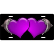 Dolphins and Purple Hearts on Black License Plate
